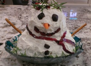 Cheese Ball Snow Man